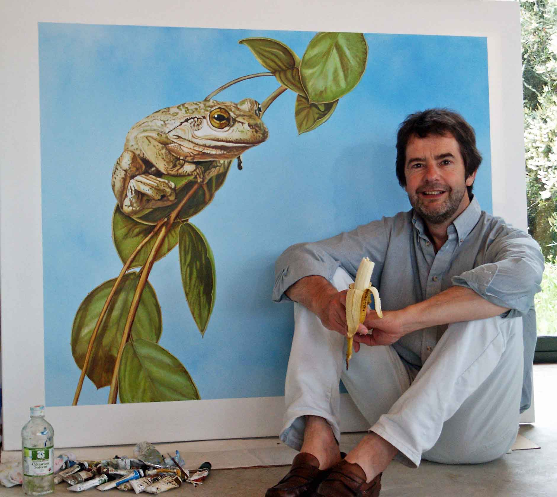 Me again - this time with  bad haircut, a banana and an Australian tree frog.