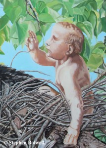 The original underpainting with the little old man baby