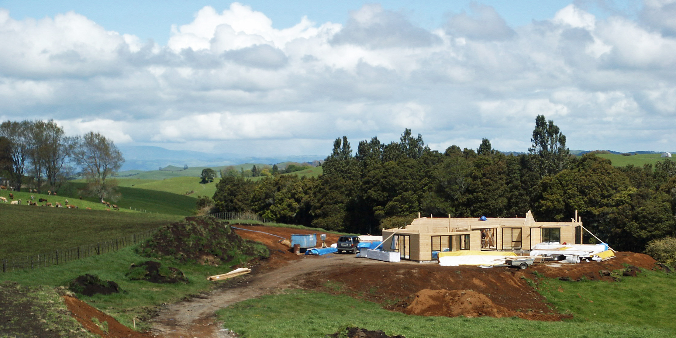 It is the 29th of October. A concrete foundation is in place and our house is going up at breakneck speed.