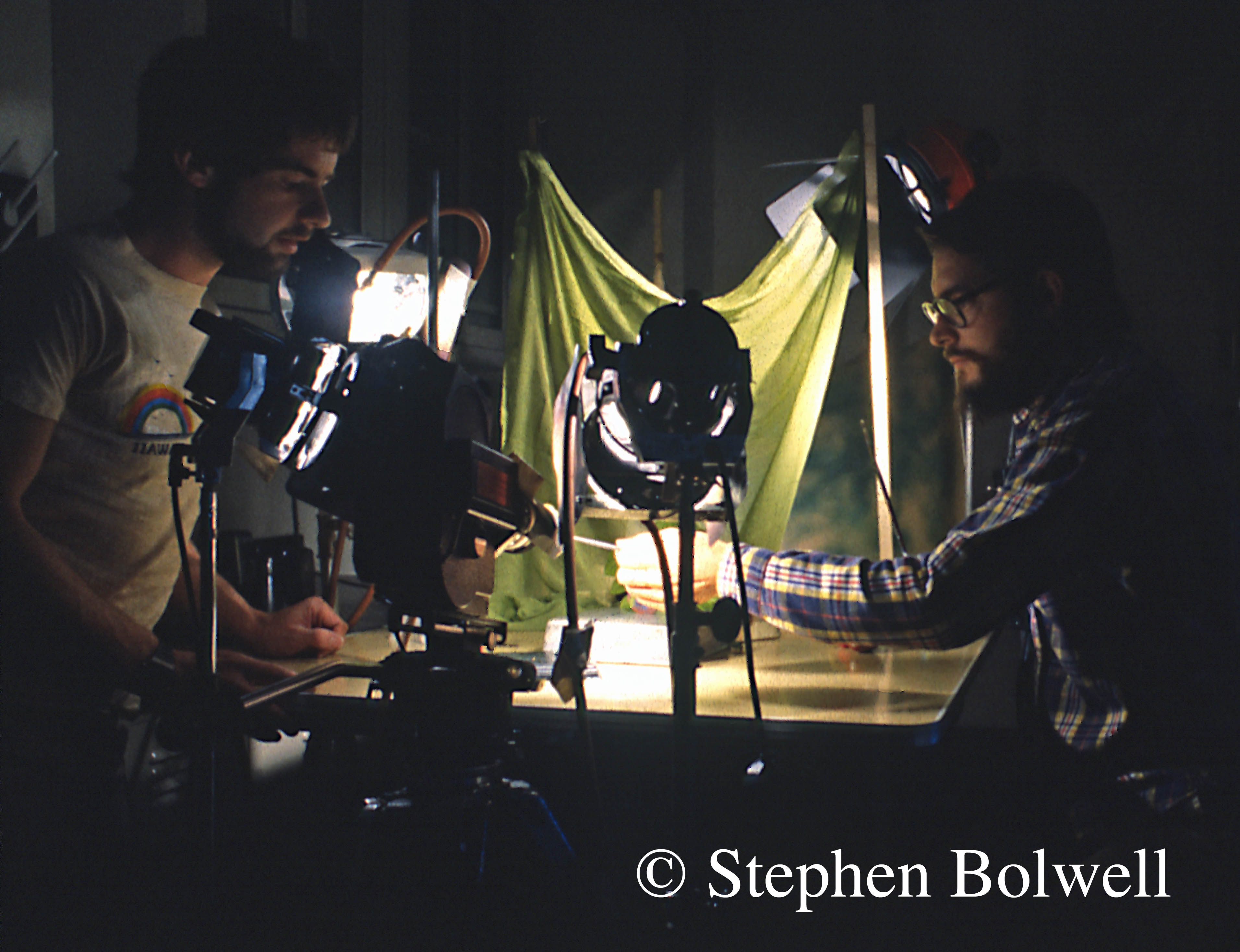 Filming in the lab (way back when) with Steve Montgomery (right). We are checking that the carnivorous caterpillars are happy under my water cooled lighting system - a year later I had the benefit of fibre optic lights.