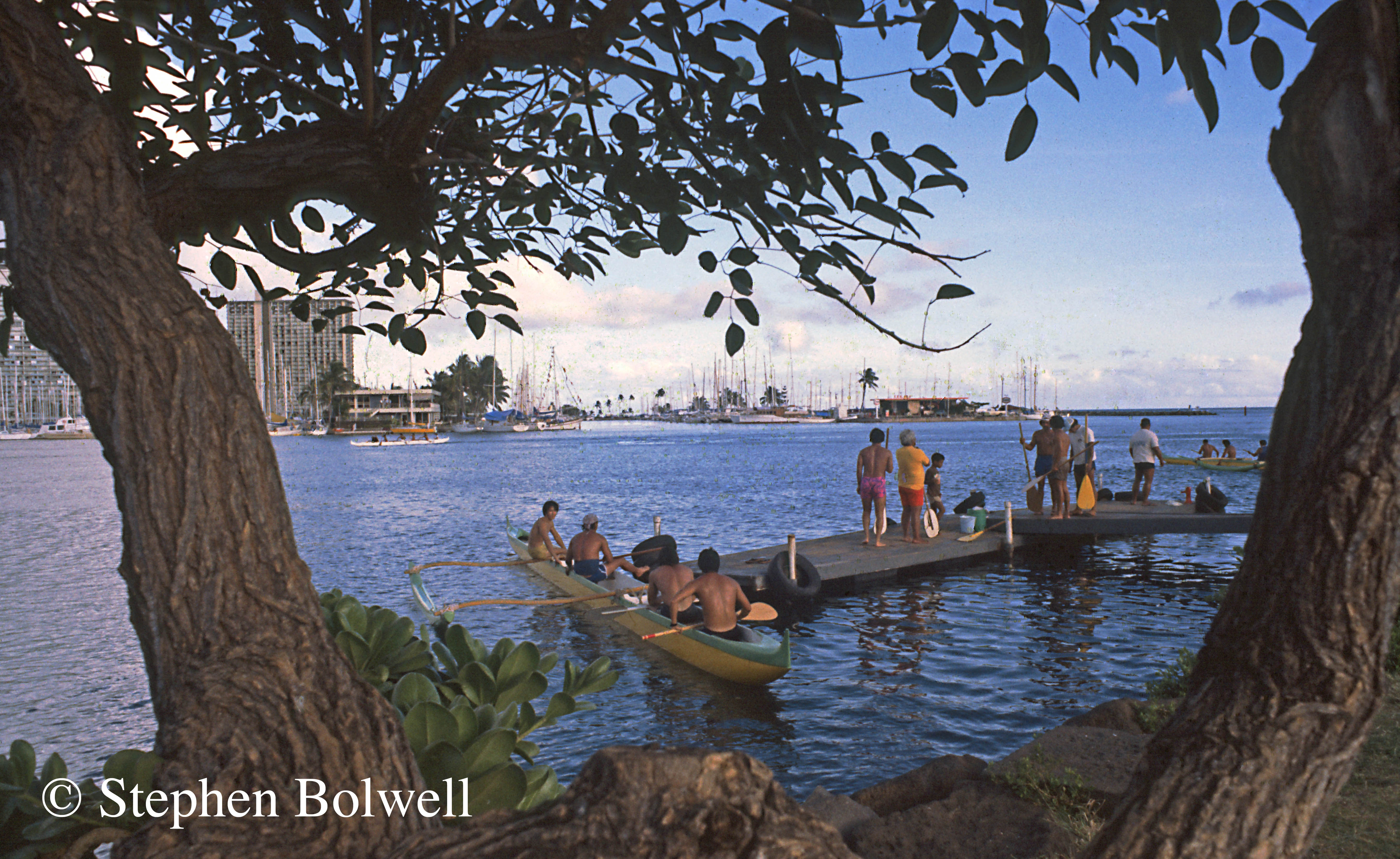 In Honolulu locals race canoes that have changed very little since Captain Cook's arrival on the Islands two hundred and one years before this picture was taken.
