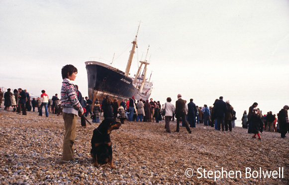 Going to see one of Brighton's leading tourist attractions, the Athena-B for the month it remained on the beach before it was towed away for salvage.