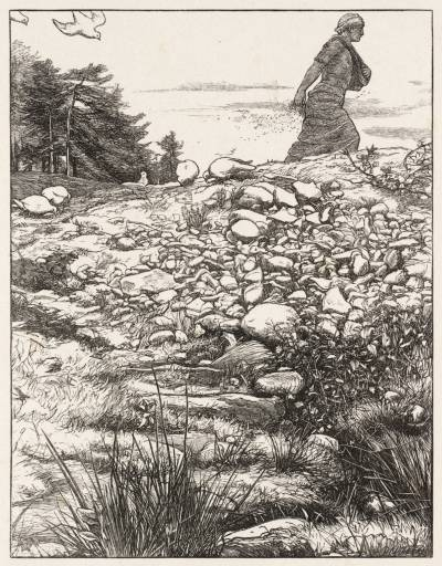 Sower and Seed by Millet reminds me of the woman casting peanuts and seeds as she walks along the path.