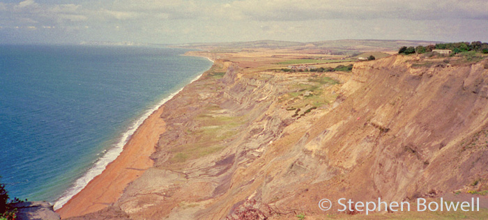 Looking West from Blacking Chine on the Isle of Wight where landslips are occurring - a combination of geology and water content in the cliff is dumping the cliff into the tidal zone.