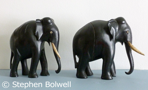 Even carved elephants - these coming out of Africa during the 1920s or 30s carry ivory tusks, although in many cases bone is substituted for tusks.