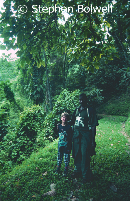 Peter with my son at the entrance to a forest trail when we were all a bit younger.