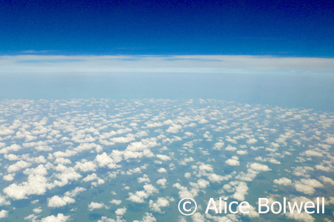 Flying nto Belize powder puff clouds line up where the land hits the sea. coastline
