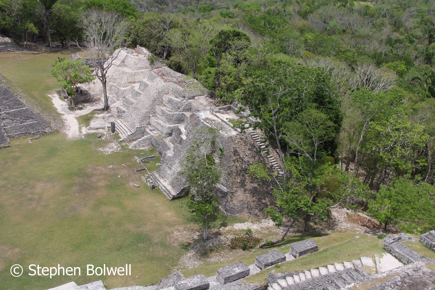 A view looking down from the top of El Castillo.