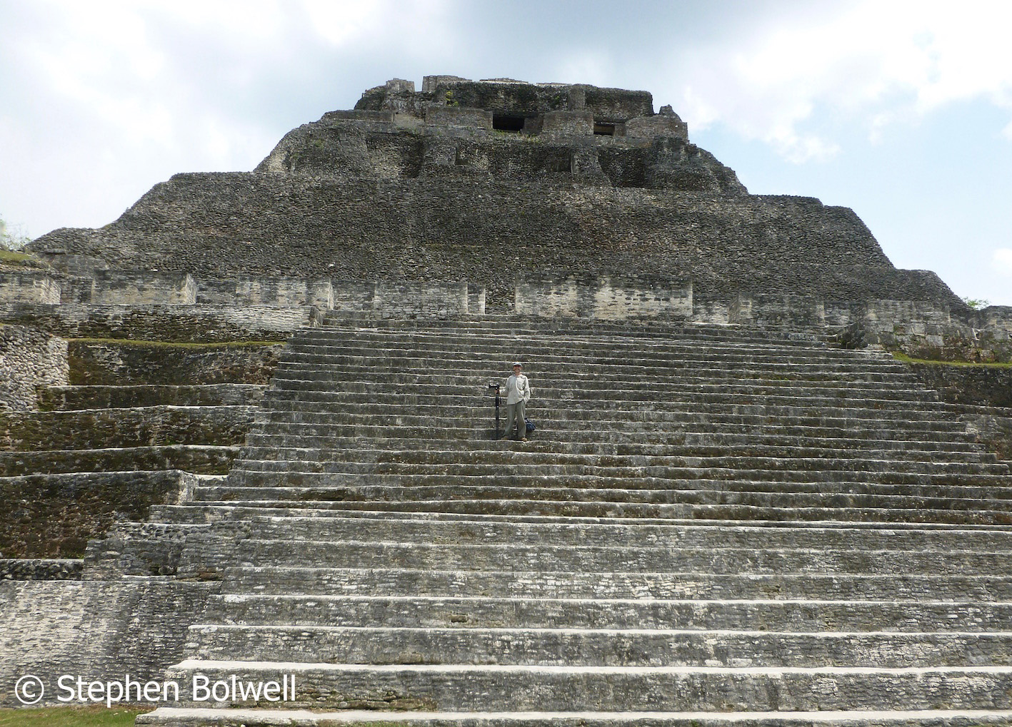 Standing on the steps of pyramid El Castillo - the most prominent structure here - looking down onto the square below.